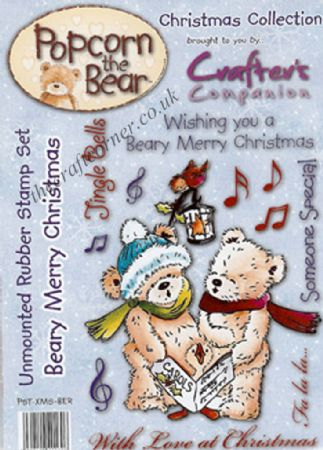 Beary Merry Christmas Popcorn Bear Unmounted Rubber Stamps